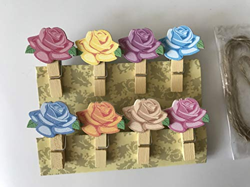 Wooden flowers Pegs Clip Instax Film Mini Birthday Wedding Party Favours Table Place Card Holders Shabby Chic Craft Decor 60pieces