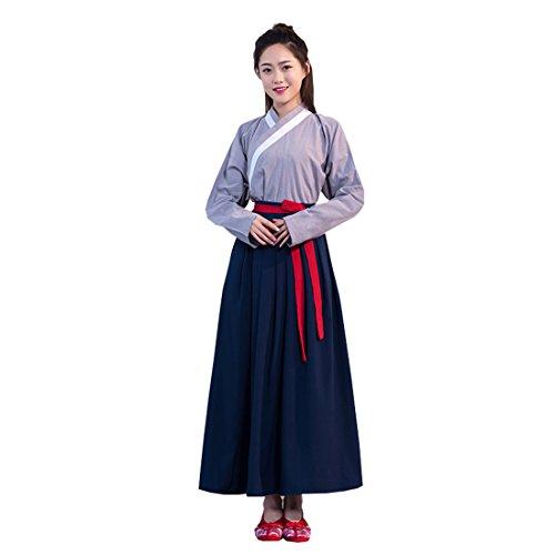 Ez-sofei Women's/Girls' Ancient Chinese Traditional Hanfu Dress Cosplay Costume Tops Skirts (M, A-Grey&Dark Blue) -