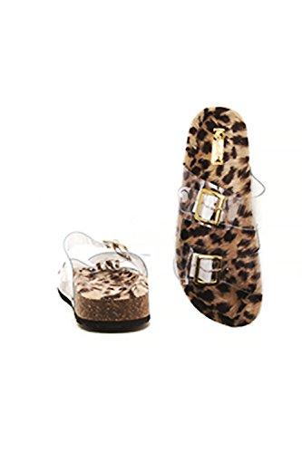 Kvinners Leopard Pels Nedre W / Klar Stroppespennen Mote Sandaler Laudy-18a Leopard