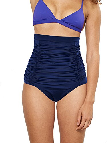 (Septangle Women's Vintage High Waisted Bikini Bottom Shirred Tankini Briefs (US 10, Navy Blue#1))