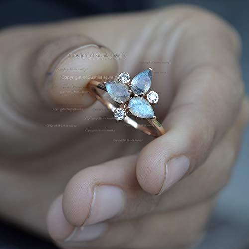 Genuine 1.20 Ct. Labradorite Gemstone Cocktail Ring Diamond Pave Solid 14k Yellow Gold Jewelry ()