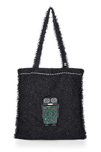 Chanel Large Tote - CHANEL Black Tweed Robot Tote (Pre-Owned)