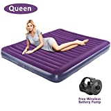 OlarHike Queen Air Mattress, Inflatable Single High Airbed for Guests, Blow up Raised Air Bed for Camping with Electric Air Battery Pump, Purple