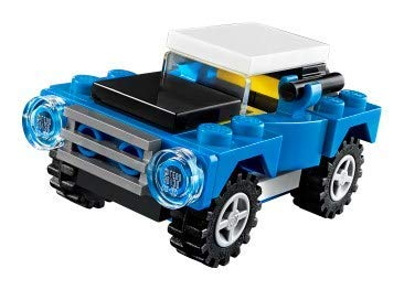 Bad Cop Movie Keychain Hanger Minifigure Character LEGO Off-Road Racer Building Set Blue Jeep Car Creator Bundled with City Road Worker Construction Kit Block Toy CCBloks