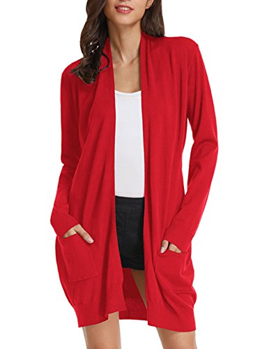 Taylor Ann Cardigan - Women Classic Soft Long Sleeve Open Front Cardigan Sweater (XL,Red)