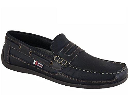Beppi Portugiesisch Herren Leder Bootsschuhe Marineblau