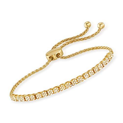 Ross-Simons 0.50 ct. t.w. Diamond Cluster Bolo Bracelet in 18kt Gold Over Sterling (1/2 Ct Tw Diamond Bracelet)