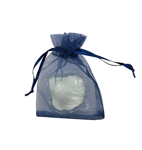 SUNGULF 100Pcs Sheer Organza Drawstring Pouches Wedding Gift Bags 3x4 Inches (Navy - 3x4 Blue Bags Organza Navy