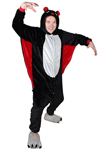 [QinYing Unisex-adult Kigurumi Onesie Pajamas Party cute Bat Cosplay Costumes Black and Red S] (Dachshund Giraffe Costumes)