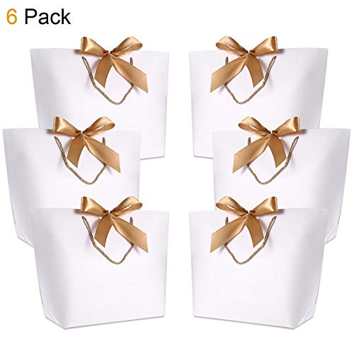 Gift Bags with Handles- WantGor 15.8x11x4.7inch Paper Party Favor Bag Bulk with Bow Ribbon for Birthday Wedding/Bridesmaid Celebration Present Classrooms (White,Extra Large- 6 Pack) -