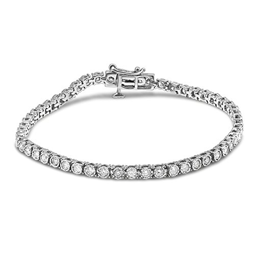 Diamond Jewel 10K White Gold 2 CT TW Diamond Tennis Bracelet (White-Gold, 2)