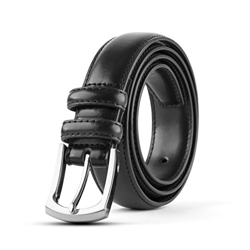 Men's Classic Dress Leather Belt, Men's Belt Leather Black (Size (Black Leather Edge Stitched Belt)