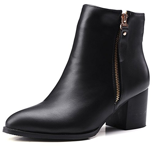Side Booties Mid Ankle Black Heel Short Pointed Boots Zipper Block Summerwhisper Women's Sexy Plain Toe Shoes wXXa4Tq