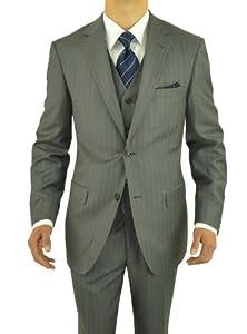 B00JLQDBQO Gino Valentino 3 Piece Men's Suit 2 Button Jacket Vested Gray Stripe (44 Regular US)
