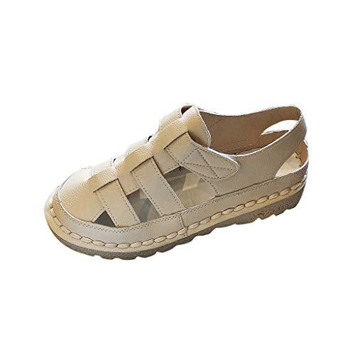 Dasuy Women's Loafers Slip On Platform Sandals Women Cross Strap Ankle Wrap Sandals Moccasin Driving Walking Shoes (US:5, Beige)