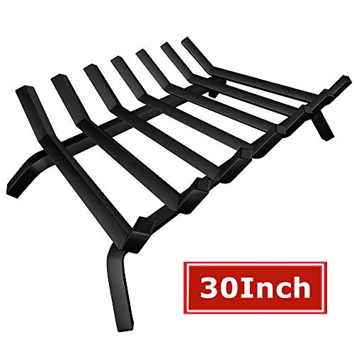 Black Wrought Iron Fireplace Log Grate 30 inch Wide Heavy Duty Solid Steel Indoor Chimney Hearth 3/4
