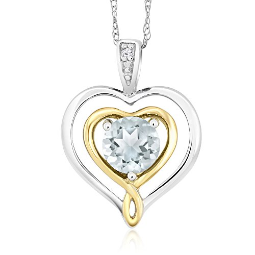 2 Tone Diamond Heart Pendant (10K Two-Tone Gold Diamond Accent Double Heart Shape Pendant Aquamarine 0.40 Ct)