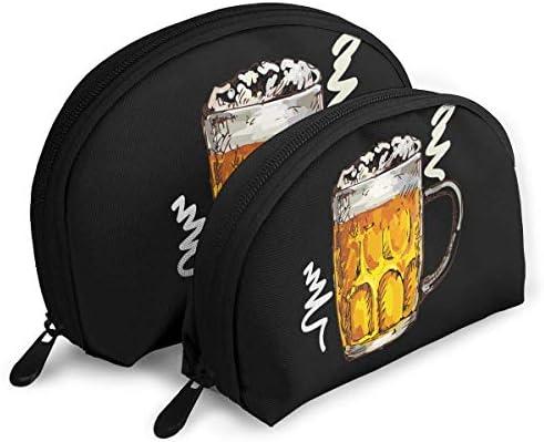 JUYTR Bolsas de cosméticos Pack of 2 Womens Shell Cosmetic Bags - Beer On Draft Graphic Portable Travel Makeup Handbag Waterproof Toiletry Organizer Storage Bags: Amazon.es: Belleza