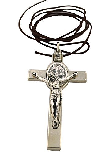 Silver Tone Oval Pendant (St. Benedict Crucifix with Oval St. Benedict Medal, Comes with Cord and Booklet Explaining the St. Benedict Medal (Silver-tone))