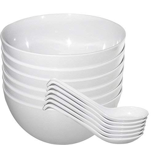 - Chef Miso Set of Six Extra Large Melamine Pho Bowls and Spoons White 48 Ounce