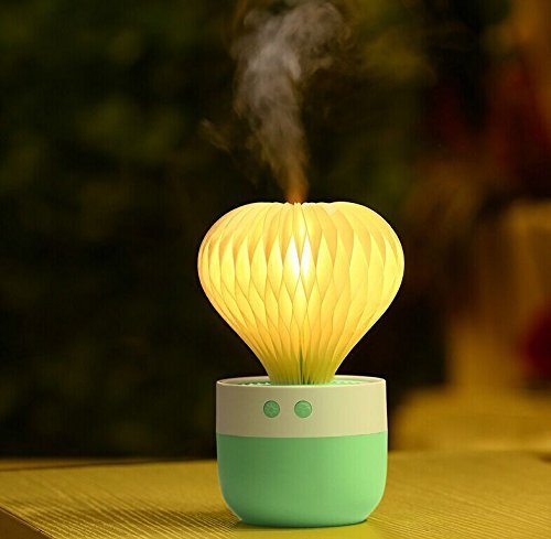 Mini Humidifier 7 Color Night Light Ball Cactus Humidifiers USB Humidifier for Car Home Sleep, Bedroom, Office Desktop(Green)