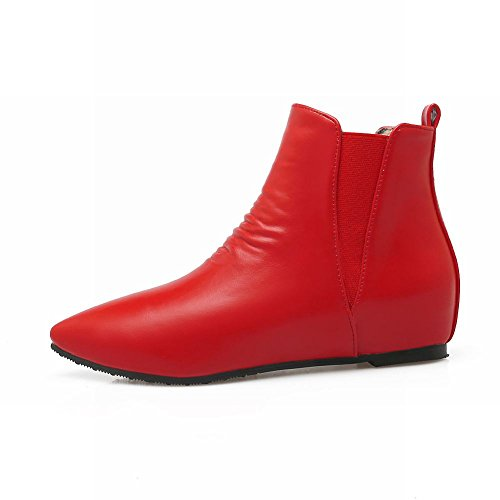 Pointed Red Ankle Pleated Boots Womens Wedges Dress Inside Toe Latasa qwETxFzf