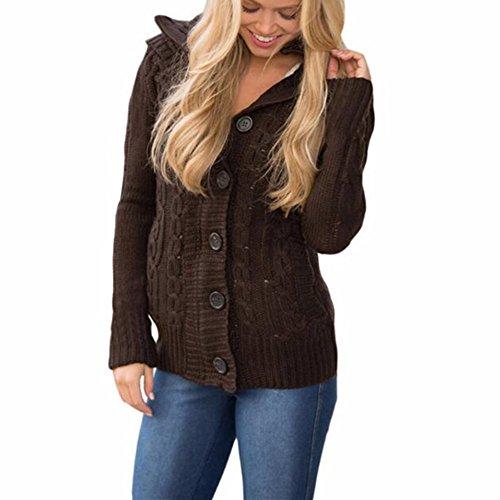 Newbestyle Femme Automne et Hiver Manteau de Chandail Coton Tricot Chaud Veste Chandail  Capuche Gilet Bouton Cardigan Chandail Marron