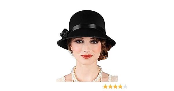 DISBACANAL Sombrero años 20 para Mujer - Negro  Amazon.es  Juguetes y juegos eb4df545a02