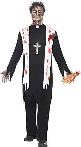 Smiffy's Men's Zombie Priest Costume, Blooded Top, Latex Wound, Collar and pants, Zombie Alley, Halloween, Size M, 38878 (Latex Halloween Costumes Uk)