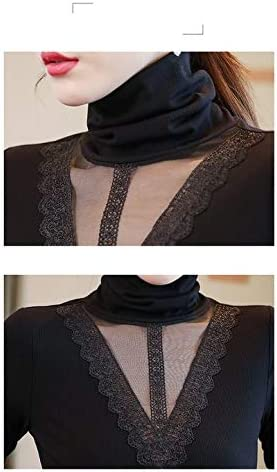 RSWHYY Womens T-Shirt Turtleneck Long Sleeve Lace Work Office Stitching Easy Care