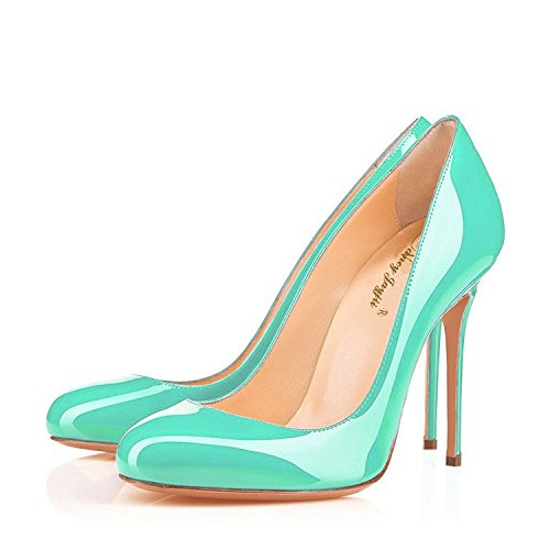 7 Jayjii Formal Leather Shoes Slip for Macaron Round on Green Genuine Toe Stiletto Nancy Women gZSqww