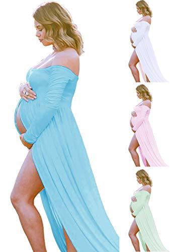 Light Blue Maternity-Dress off Shoulder Long Sleeve Chiffon Gown Split Front Maxi Pregnancy Photography-Dress for Photoshoot (A-Light Blue))