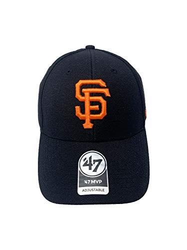 ('47 Brand San Francisco Giants Black MVP Adjustable Velcro Back Hat MLB Curve Brim Caps)