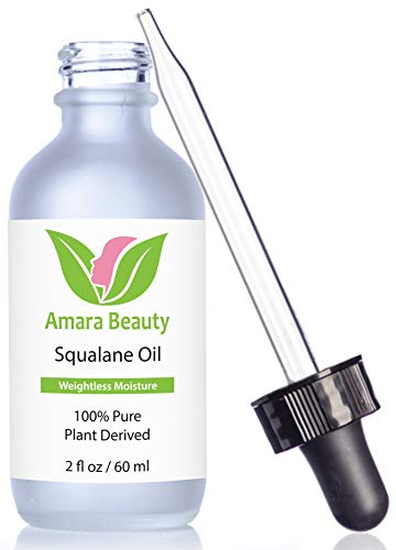 Amara Beauty Squalane Oil Moisturizer with 100% Pure Plant Derived Squalane for Face, Body, Skin and Hair, 2 fl. oz.
