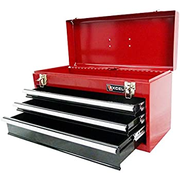 Excel TB133A-Red 21-Inch Portable Steel Tool Box, Red - Toolboxes ...