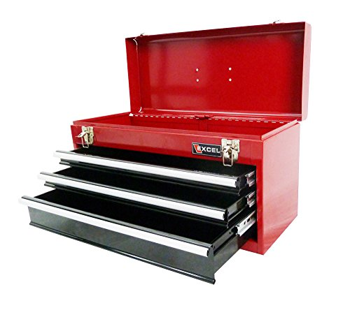 Excel TB133A-Red 21-Inch Portable Steel Tool Box, Red (Toolbox Drawer Pull compare prices)
