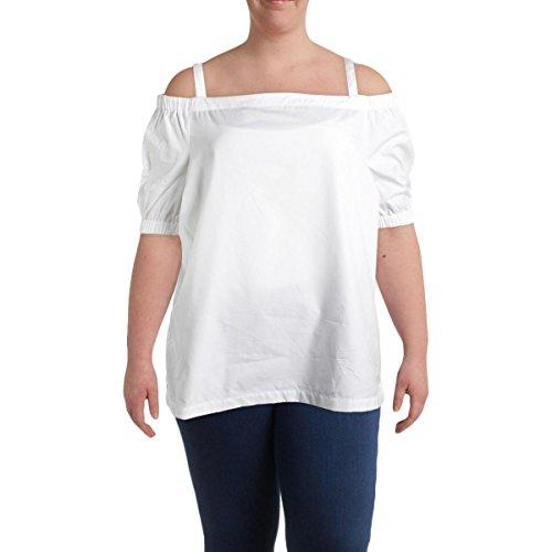 Lauren by Ralph Lauren Womens Plus Concetta Cotton Casual Top White 1X