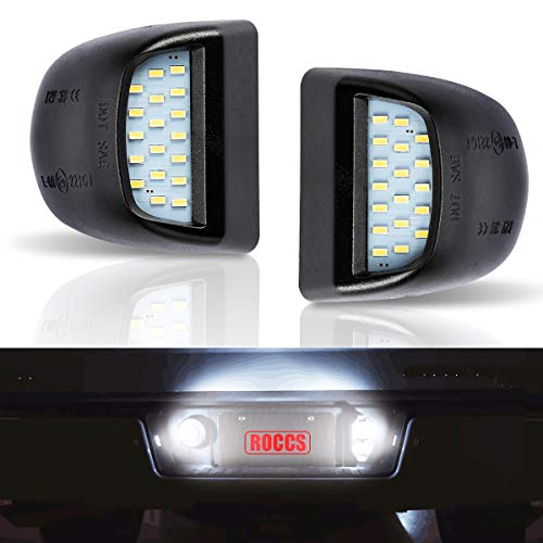 ROCCS Error Free LED License Plate Light Lamp Assembly Replacement For Chevy Silverado Suburban Tahoe GMC Sierra 1500 2500 3500 Cadillac Escalade 6000k White LED Lights