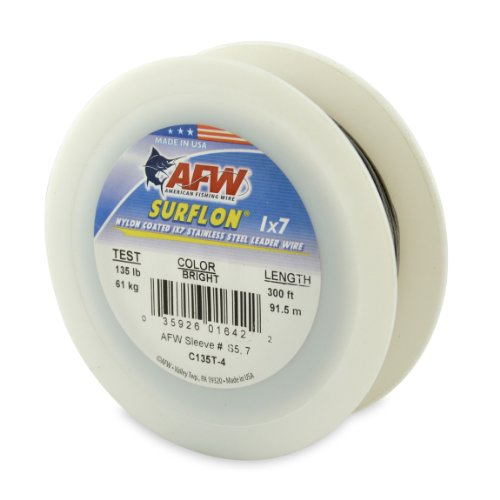 American Fishing Wire Surflon Nylon Coated 1x7 Stainless Steel Leader Wire, Bright Color, 135 Pound Test, 300-Feet ()