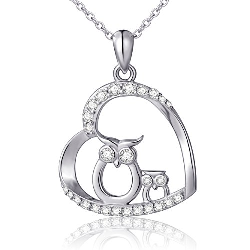 (Owl Mother and Child) Sterling Silver Love Heart Pendant Necklace, 18