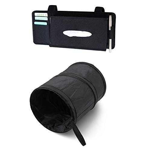 Universal Car Trash Can W/ Sun Visor Organizer 2pc UNIQUE COMBO   Premium Portable Leak Proof Collapsible Pop up Hanging Garbage Bin   Durable Card Pen Tissue Holder   Road ()