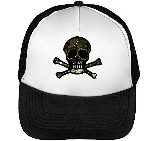 Dark Celestial Skull Graphic Gorras Hombre Snapback Beisbol Negro Blanco