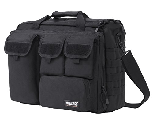 Seibertron Pro- Multifunction Mens Military Tactical Outdoor Shoulder Messenger Laptop Bag Handbags Briefcase Satchel Crossbody Sling Case Large Enough for 17.3' 17.3-Inch 2 Years Warranty Black