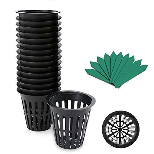 - 50-Pack 2 Inch Garden Slotted Mesh Net Cups, Heavy Duty Net Pots w/ 25 Pcs Plant Labels, Wide Lip Bucket Basket for Hydroponics