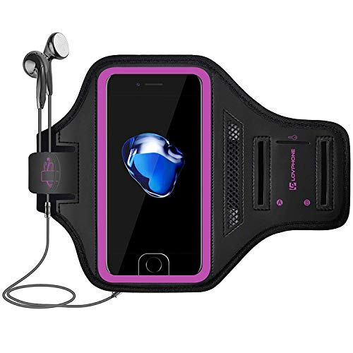 LOVPHONE iPhone 7/8 Plus Armband Sport Running Exercise Case for iPhone 7 Plus/iPhone 8 Plus/iPhone 6 Plus/6s Plus with Key Holder & Card Slot for Walking, Hiking, Biking(Pink)