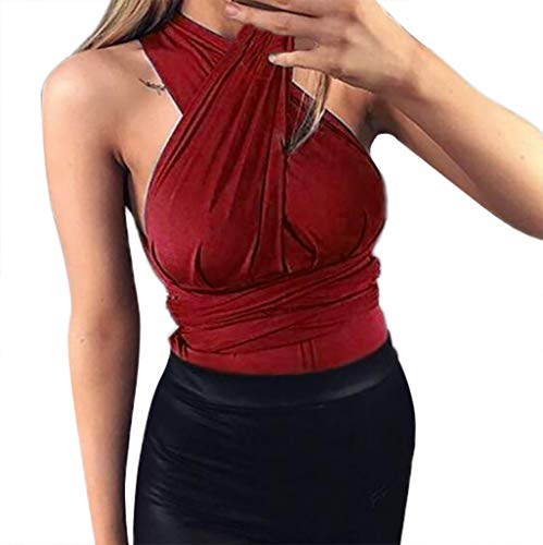 Women's Casual Halter Neck Draped Front Sexy Backless Tank Top Lightweight Sexy Low Cut Halter Tunic Top with Stretch Wine