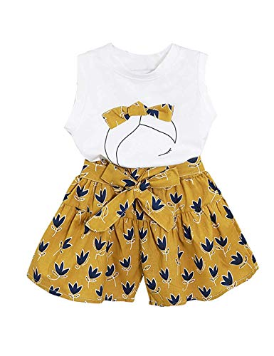 Baby Clothing Kids Summer Clothes Girls Flower Printing Vest + Pure Color Pants Children Clothing Set (Yellow-f, 6-7T)