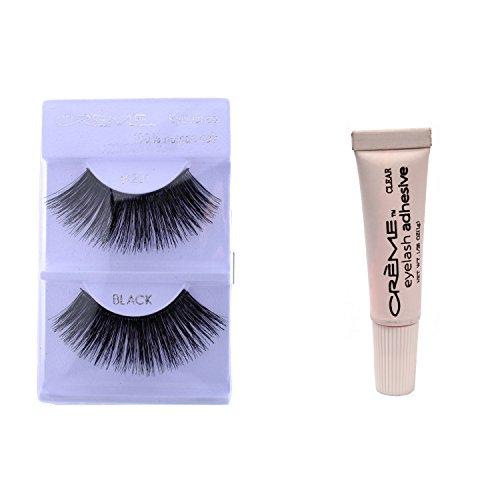 201 Creme - 12 Pairs Crème 100% Human Hair Natural False Eyelash Extensions Black #201 Dark Full Long Lashes