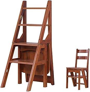 LHF Inicio Taburetes, taburetes Silla alta Escalera Escalera de tijera Escalera de madera de pino Escalera de 4 peldaños Amplio Banco de zapatos de seguridad Estante de almacenamiento Hogar Cocina In: Amazon.es: