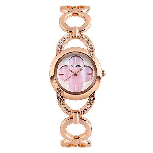 Gorgeous Pink Rhinestone Watch (Women Rhinestone Quartz Bracelet Watch Waterproof Korean Style Four Leaf Clover Rose Gold Watches Analog (Pink))